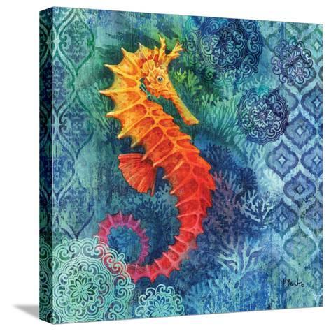Seahorse Batik Sq-Paul Brent-Stretched Canvas Print