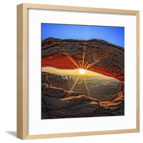 Famous Sunrise at Mesa Arch in Canyonlands National Park, Utah, USA-prochasson frederic-Framed Art Print