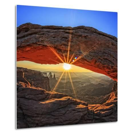 Famous Sunrise at Mesa Arch in Canyonlands National Park, Utah, USA-prochasson frederic-Metal Print