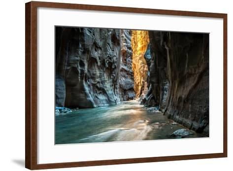 Wall Street - Virgin River, Zion National Park. the Light at the End of the Tunnel.- mattymeis-Framed Art Print