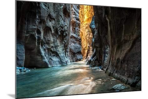 Wall Street - Virgin River, Zion National Park. the Light at the End of the Tunnel.- mattymeis-Mounted Photographic Print