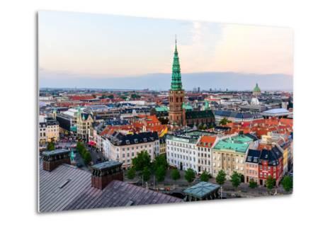 Copenhagen Skyline by Evening. Denmark Capital City Streets and Danish House Roofs. Copenhagen Old-aliaksei kruhlenia-Metal Print
