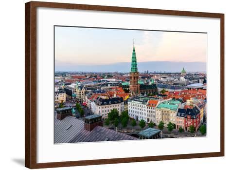 Copenhagen Skyline by Evening. Denmark Capital City Streets and Danish House Roofs. Copenhagen Old-aliaksei kruhlenia-Framed Art Print