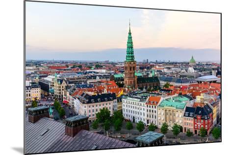 Copenhagen Skyline by Evening. Denmark Capital City Streets and Danish House Roofs. Copenhagen Old-aliaksei kruhlenia-Mounted Photographic Print