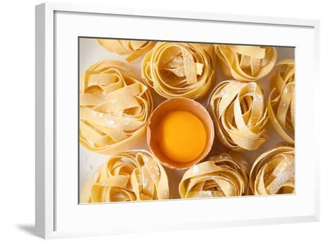Fettuccine Pasta Italian Food Still Life Rustic Flat Lay White Background Tagliatelle Alfredo Yolk- rukxstockphoto-Framed Art Print