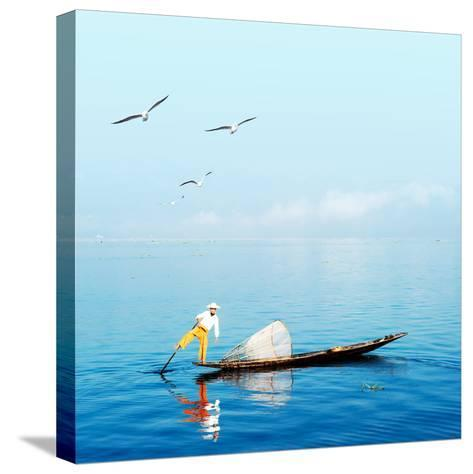 Burma Myanmar Inle Lake Traditional Fisherman Fish Catching in Blue Water at Peaceful Morning Time-Banana Republic images-Stretched Canvas Print