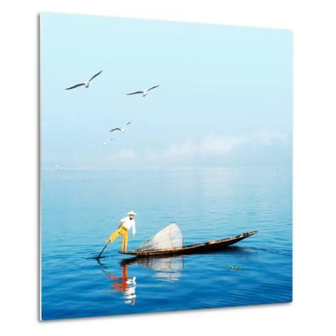 Burma Myanmar Inle Lake Traditional Fisherman Fish Catching in Blue Water at Peaceful Morning Time-Banana Republic images-Metal Print