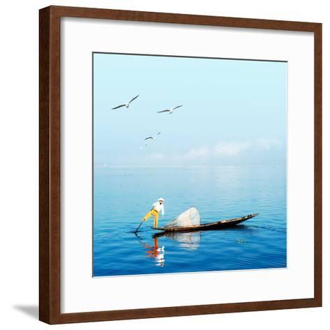 Burma Myanmar Inle Lake Traditional Fisherman Fish Catching in Blue Water at Peaceful Morning Time-Banana Republic images-Framed Art Print
