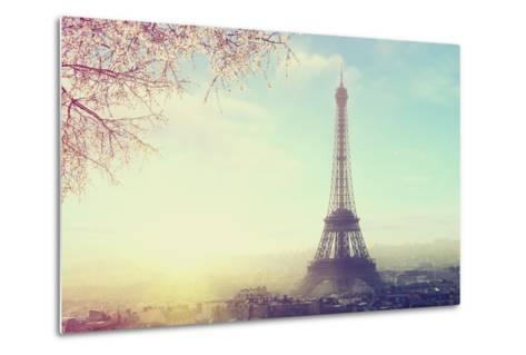 Aerial View of Paris Cityscape with Eiffel Tower at Sunset Vintage Colored Picture. Business, Love-Sergei Aleshin-Metal Print