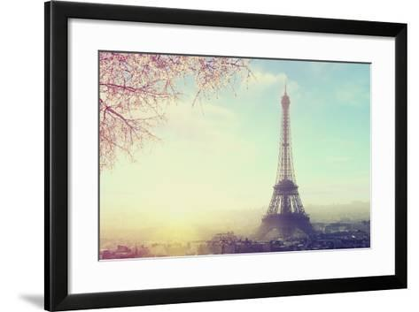 Aerial View of Paris Cityscape with Eiffel Tower at Sunset Vintage Colored Picture. Business, Love-Sergei Aleshin-Framed Art Print