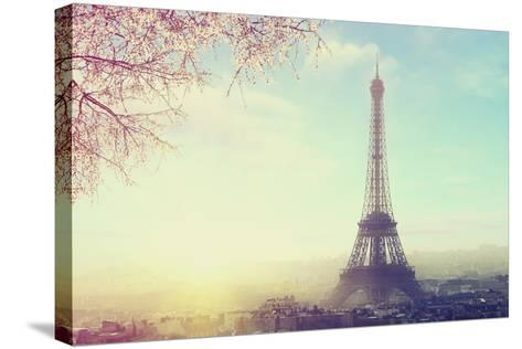 Aerial View of Paris Cityscape with Eiffel Tower at Sunset Vintage Colored Picture. Business, Love-Sergei Aleshin-Stretched Canvas Print