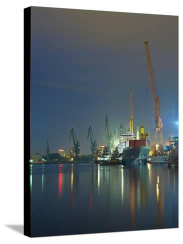 View of the Quay Shipyard of Gdansk, Poland.-Nightman1965-Stretched Canvas Print