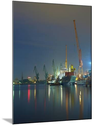 View of the Quay Shipyard of Gdansk, Poland.-Nightman1965-Mounted Photographic Print