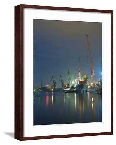 View of the Quay Shipyard of Gdansk, Poland.-Nightman1965-Framed Art Print