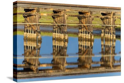 Railroad Bridge Reflection-Lee Peterson-Stretched Canvas Print