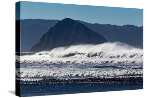 Morro Rock Waves-Lee Peterson-Stretched Canvas Print