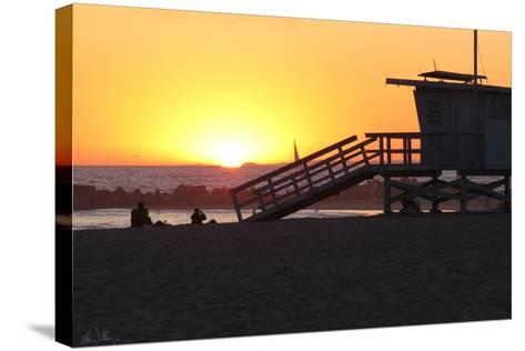 Sunset Lifeguard-Alex Williams-Stretched Canvas Print