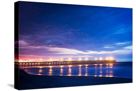 Surfside Pier Sunrise I-Alan Hausenflock-Stretched Canvas Print