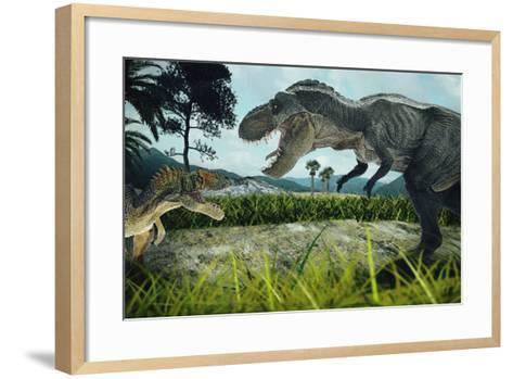 Dinosaur Scene of the Two Dinosaurs Fighting Each- metha1819-Framed Art Print