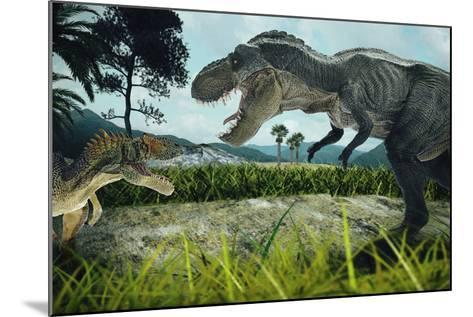 Dinosaur Scene of the Two Dinosaurs Fighting Each- metha1819-Mounted Photographic Print