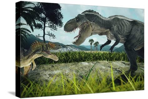 Dinosaur Scene of the Two Dinosaurs Fighting Each- metha1819-Stretched Canvas Print