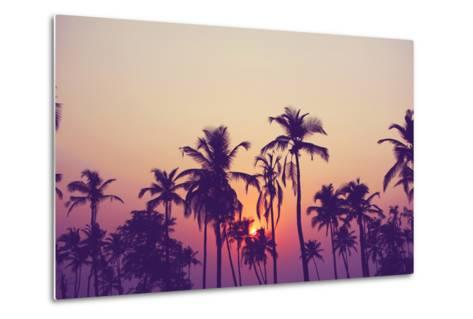 Silhouette of Palm Trees at Sunset, Vintage Filter-grop-Metal Print