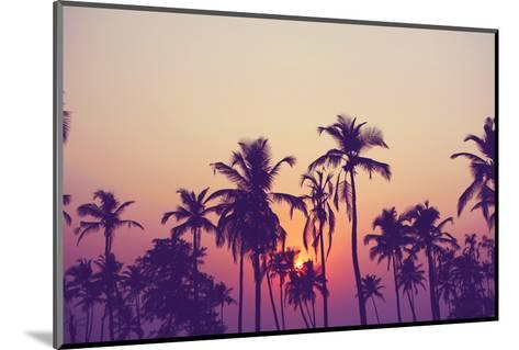 Silhouette of Palm Trees at Sunset, Vintage Filter-grop-Mounted Photographic Print