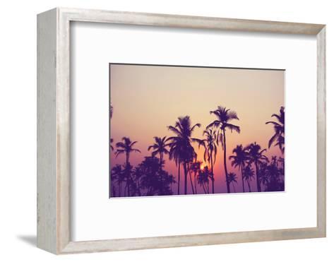 Silhouette of Palm Trees at Sunset, Vintage Filter-grop-Framed Art Print