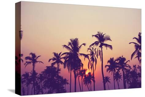 Silhouette of Palm Trees at Sunset, Vintage Filter-grop-Stretched Canvas Print