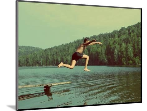 Boy Jumping in Lake at Summer Vacations - Vintage Retro Style-Kokhanchikov-Mounted Photographic Print