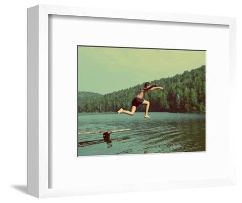 Boy Jumping in Lake at Summer Vacations - Vintage Retro Style-Kokhanchikov-Framed Art Print