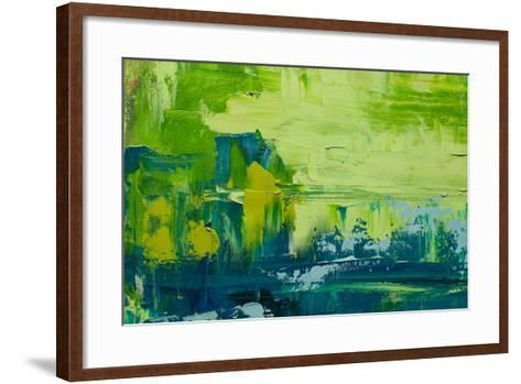 Abstract Art Background. Oil Painting on Canvas. Green and Yellow Texture. Fragment of Artwork. Spo-Sweet Art-Framed Art Print