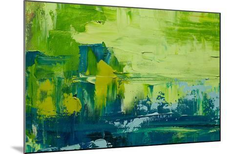 Abstract Art Background. Oil Painting on Canvas. Green and Yellow Texture. Fragment of Artwork. Spo-Sweet Art-Mounted Photographic Print