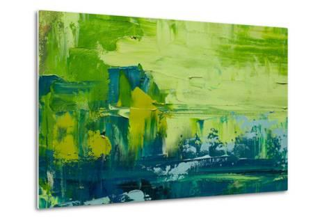 Abstract Art Background. Oil Painting on Canvas. Green and Yellow Texture. Fragment of Artwork. Spo-Sweet Art-Metal Print