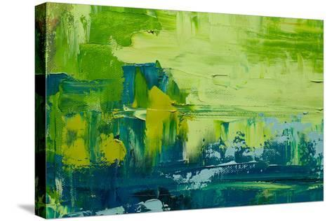 Abstract Art Background. Oil Painting on Canvas. Green and Yellow Texture. Fragment of Artwork. Spo-Sweet Art-Stretched Canvas Print