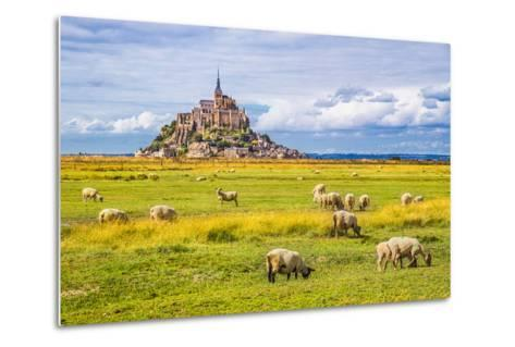 Beautiful View of Famous Historic Le Mont Saint-Michel Tidal Island with Sheep Grazing on Fields Of-canadastock-Metal Print