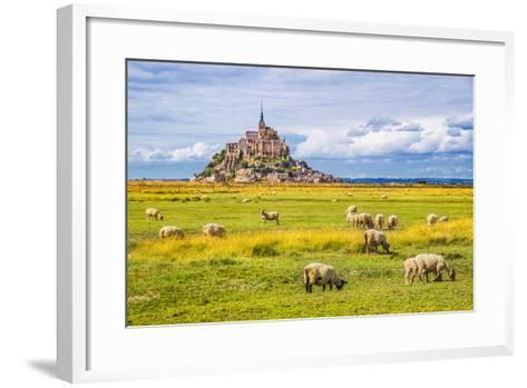 Beautiful View of Famous Historic Le Mont Saint-Michel Tidal Island with Sheep Grazing on Fields Of-canadastock-Framed Art Print