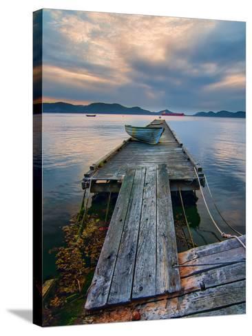 Rickety Island Dock on Saturna Island in British Columbia Canada.-James Wheeler-Stretched Canvas Print