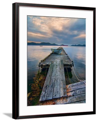 Rickety Island Dock on Saturna Island in British Columbia Canada.-James Wheeler-Framed Art Print