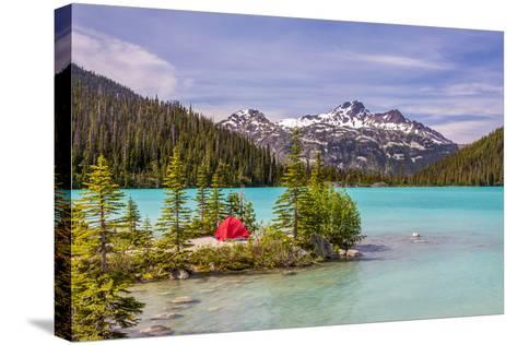 This Red Tent is a Nice Contrast with the Turquoise Water of Upper Joffre Lake in British Columbia,-Pierre Leclerc-Stretched Canvas Print