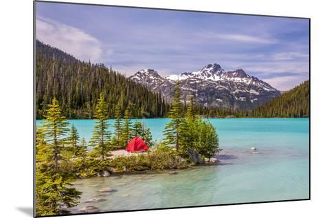 This Red Tent is a Nice Contrast with the Turquoise Water of Upper Joffre Lake in British Columbia,-Pierre Leclerc-Mounted Photographic Print