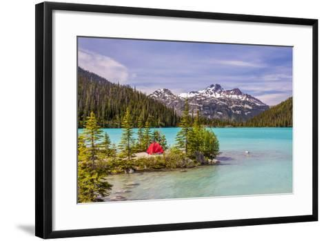 This Red Tent is a Nice Contrast with the Turquoise Water of Upper Joffre Lake in British Columbia,-Pierre Leclerc-Framed Art Print