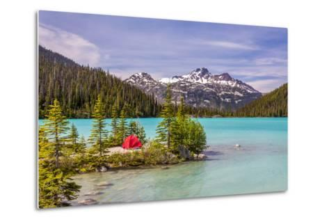 This Red Tent is a Nice Contrast with the Turquoise Water of Upper Joffre Lake in British Columbia,-Pierre Leclerc-Metal Print