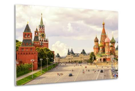 Kremlin and Cathedral of St. Basil at the Red Square in Moscow, Russia-Viacheslav Lopatin-Metal Print