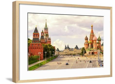 Kremlin and Cathedral of St. Basil at the Red Square in Moscow, Russia-Viacheslav Lopatin-Framed Art Print