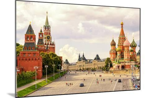 Kremlin and Cathedral of St. Basil at the Red Square in Moscow, Russia-Viacheslav Lopatin-Mounted Photographic Print