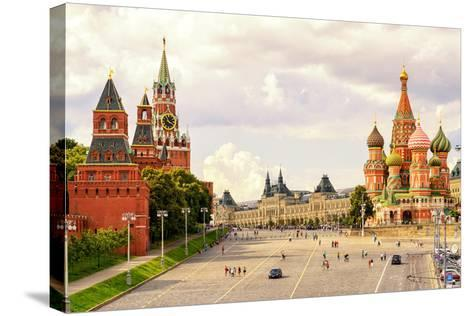 Kremlin and Cathedral of St. Basil at the Red Square in Moscow, Russia-Viacheslav Lopatin-Stretched Canvas Print