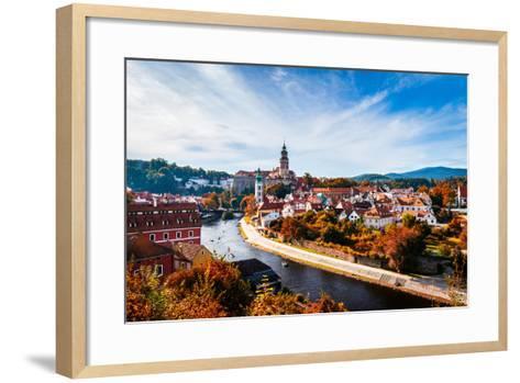 Autumn View on the Cesky Krumlov and Vltava River, Czech Republic. Sunny Autumn Day. UNESCO World H- DaLiu-Framed Art Print