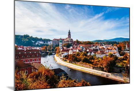 Autumn View on the Cesky Krumlov and Vltava River, Czech Republic. Sunny Autumn Day. UNESCO World H- DaLiu-Mounted Photographic Print