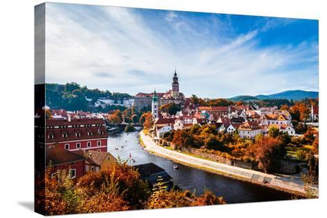 Autumn View on the Cesky Krumlov and Vltava River, Czech Republic. Sunny Autumn Day. UNESCO World H- DaLiu-Stretched Canvas Print
